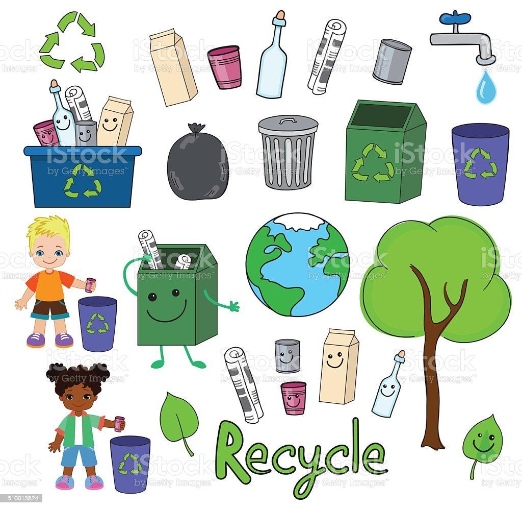 Ökologie Elemente Für Den Tag Der Erde Glückliche Kinder Feiern Sie ...