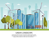Ecology energy background vector elements illustration and environmental eco risks and pollution. City skyline urban park
