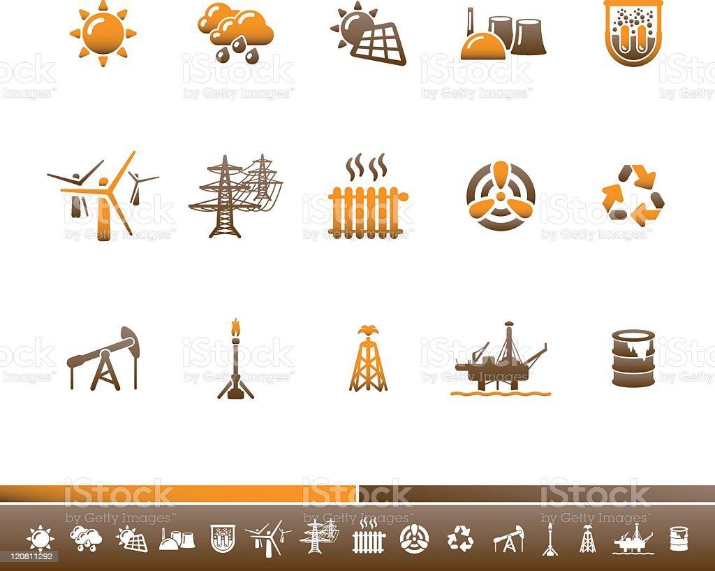 Ecology & Energy Icons | Orange Brown royalty-free stock vector art