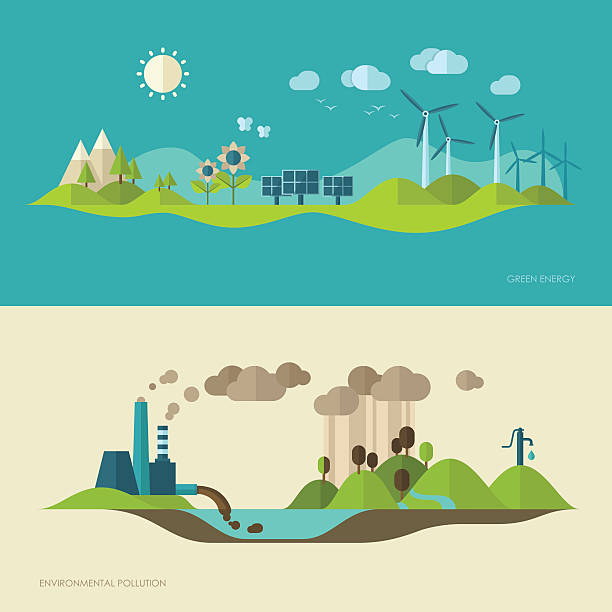 Ecology, environment, green energy and pollution concept illustrations Flat design vector concept illustration with icons of ecology, environment, green energy and pollution sustainable energy stock illustrations