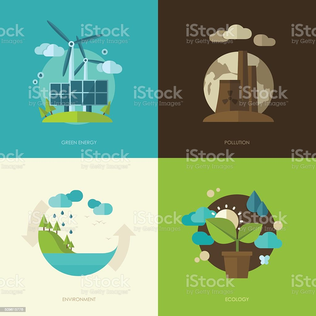 ecology, environment, green energy and pollution concept illustrations vector art illustration