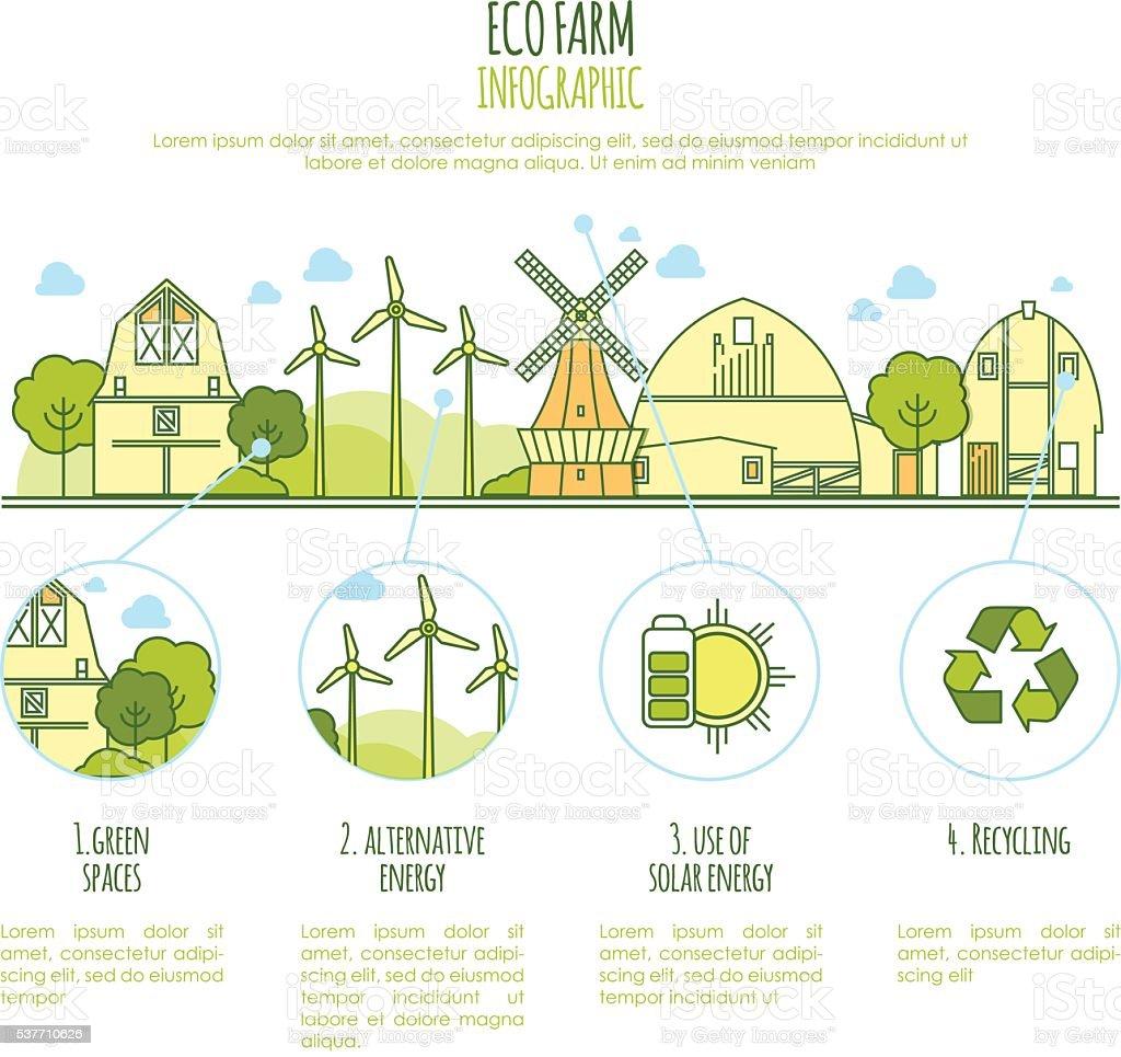 Ecologia fazenda infográfico de vetor com ícones de Linha fina modelo - ilustração de arte em vetor