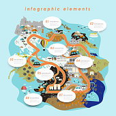 Colorful ecology flat design with adorable map