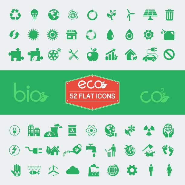 ecology flat icon set - energy saving stock illustrations, clip art, cartoons, & icons