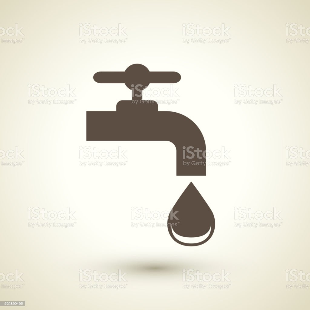 ecology flat icon with faucet element vector art illustration