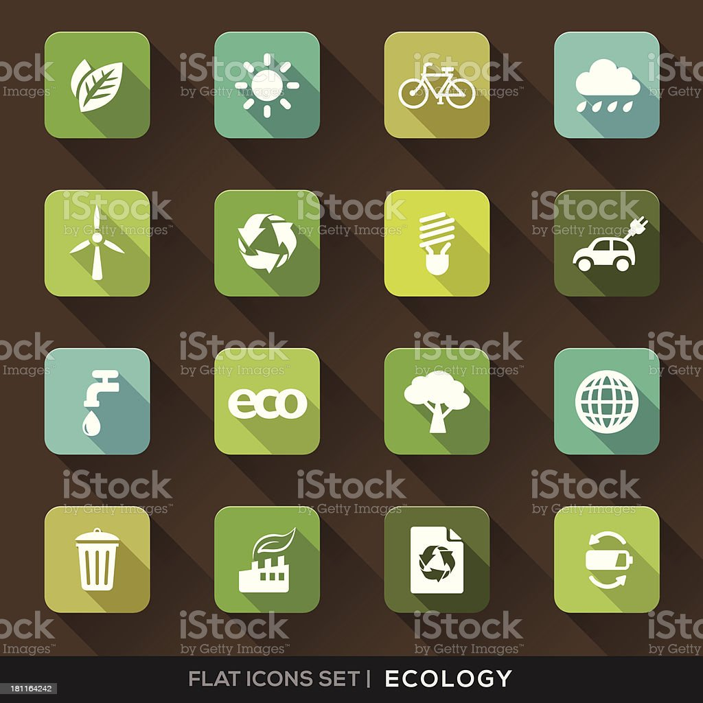 Ecology Flat Icons Set royalty-free ecology flat icons set stock vector art & more images of alternative energy