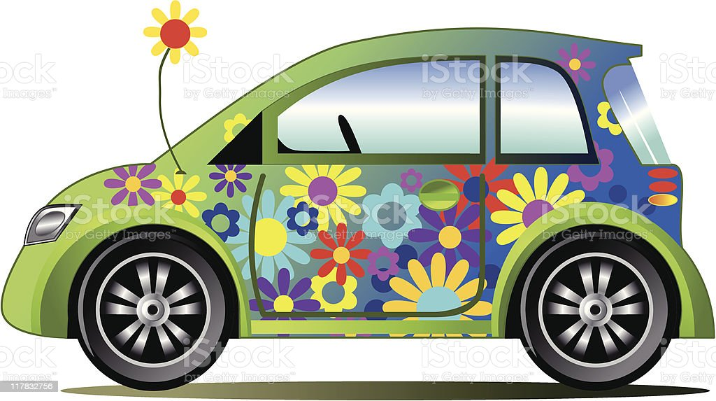 Ecology flower power car vector art illustration