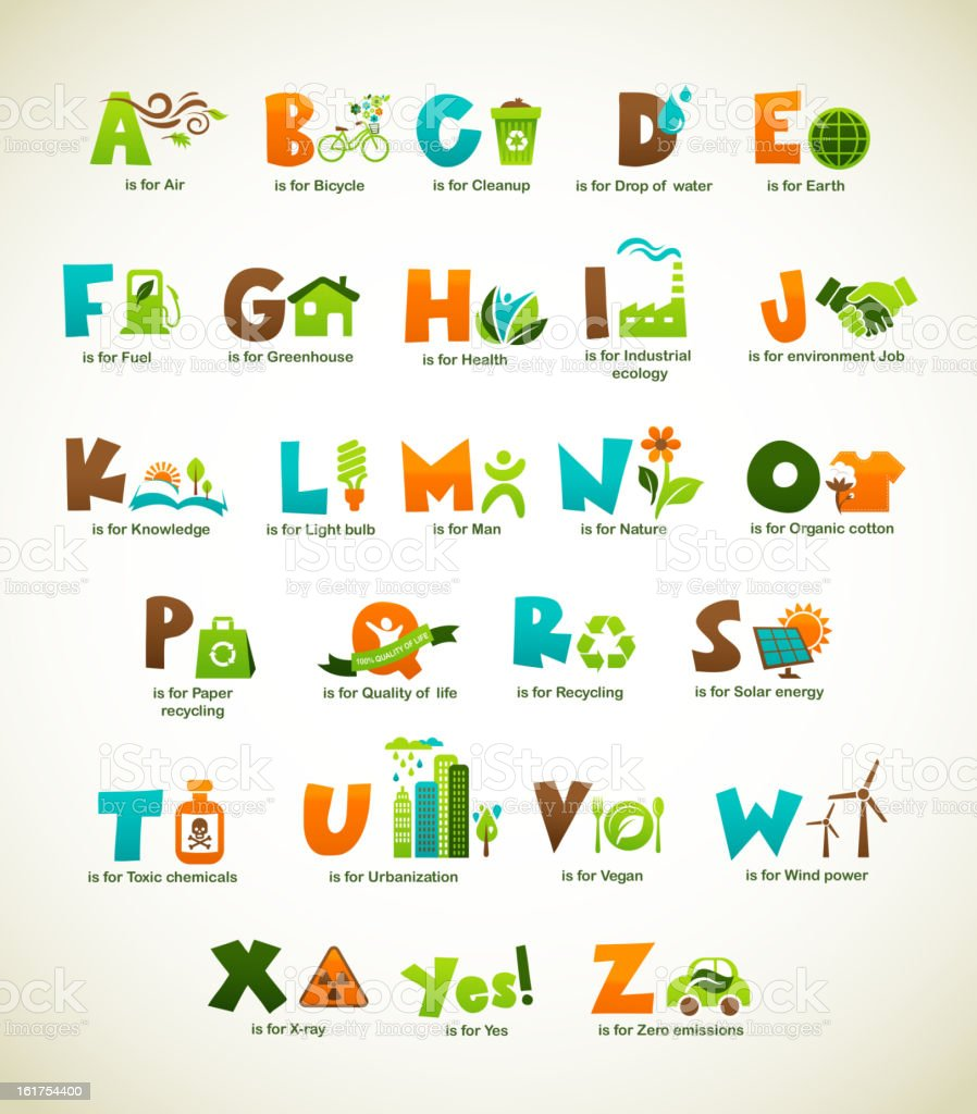 Ecology green alphabet with collection of vector elements royalty-free ecology green alphabet with collection of vector elements stock vector art & more images of alternative energy