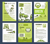 Ecology vector poster template set. Green city, eco nature park and environment protection banner, eco business and ecology gardening brochure with green tree and plant nature landscape