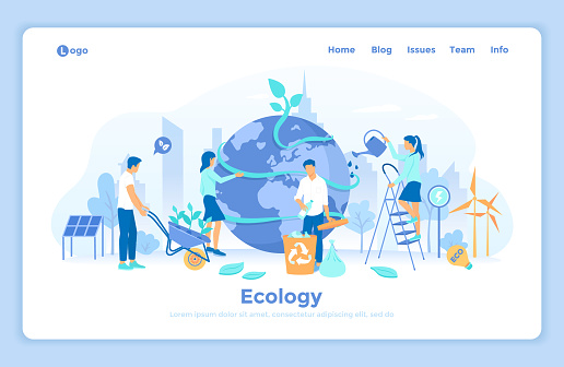 Ecology, Green Eco City planet, Eco-friendly ideas. Bio technology. People take care about planet ecology - watering, gathering garbage, planting. landing web page template decorated with people.