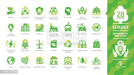 Ecology green icon set with ecological city, eco technology, renewable energy, environmental protection, sustainable development, nature conservation, climate change and global warming symbols.
