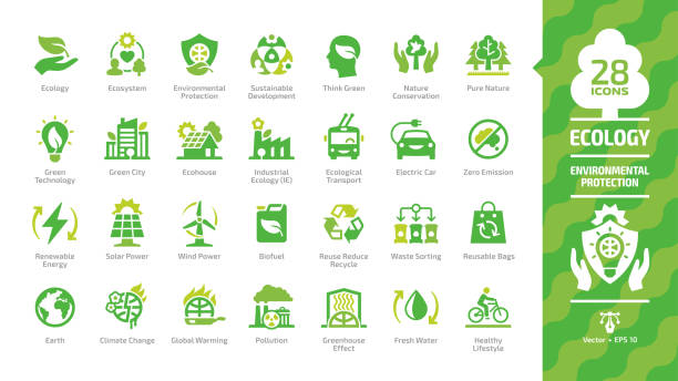 illustrazioni stock, clip art, cartoni animati e icone di tendenza di ecology green icon set with ecological city, eco technology, renewable energy, environmental protection, sustainable development, nature conservation, climate change and global warming symbols. - climate change