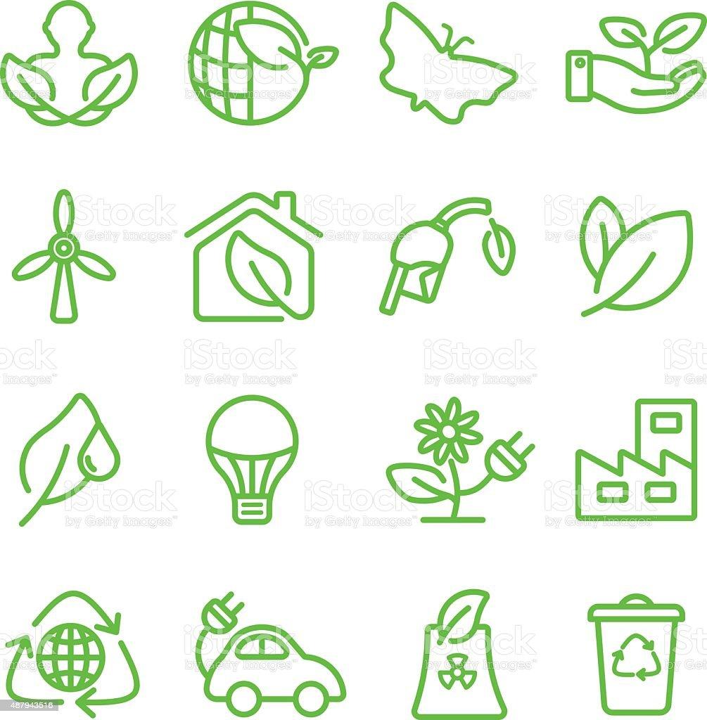 Ecology green line icon vector art illustration