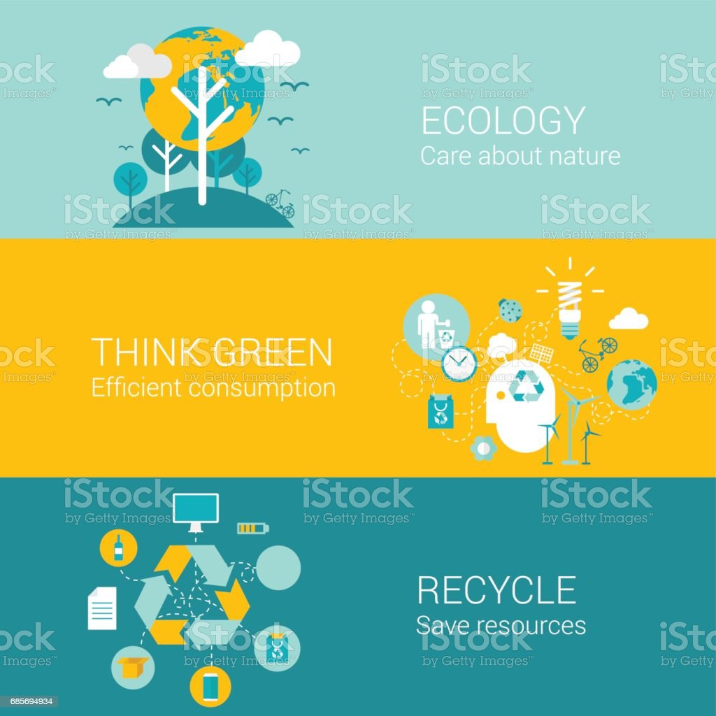 Ecology green recycle concept flat icons set of care nature efficient consumption recycling resource and vector web banners illustration print materials website click infographics elements collection. royalty-free ecology green recycle concept flat icons set of care nature efficient consumption recycling resource and vector web banners illustration print materials website click infographics elements collection 0명에 대한 스톡 벡터 아트 및 기타 이미지