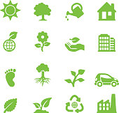 Ecology Green Silhouette Icons