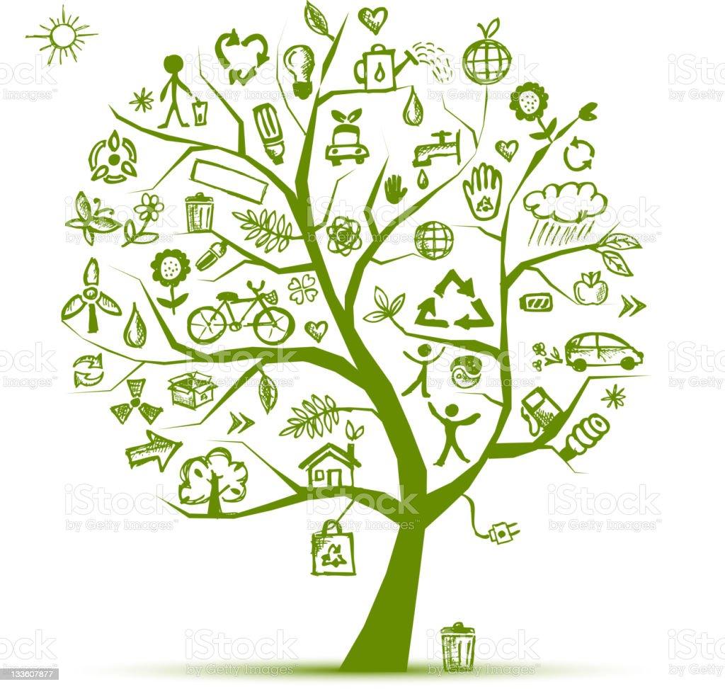 Ecology green tree for your design stock vector art 133607877 istock - Boom ontwerp ...