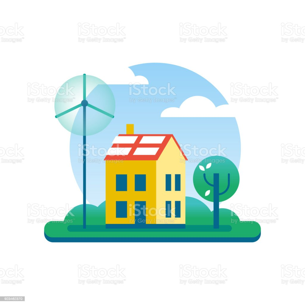 Ecology House With Green Energy Windmill And Tree Royalty Free Ecology House  With Green Energy