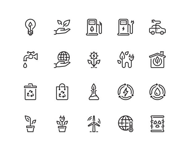 Ecology icon set, outline style 20 pixel perfect Ecology icon set in outline style electric vehicle charging station stock illustrations