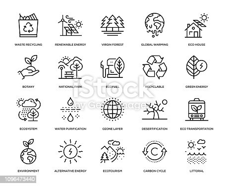 Ecology Icon Set - Thin Line Series