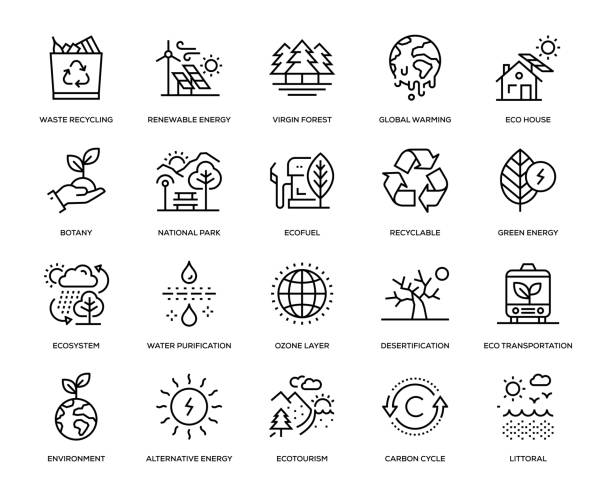 stockillustraties, clipart, cartoons en iconen met ecologie icon set - natuur
