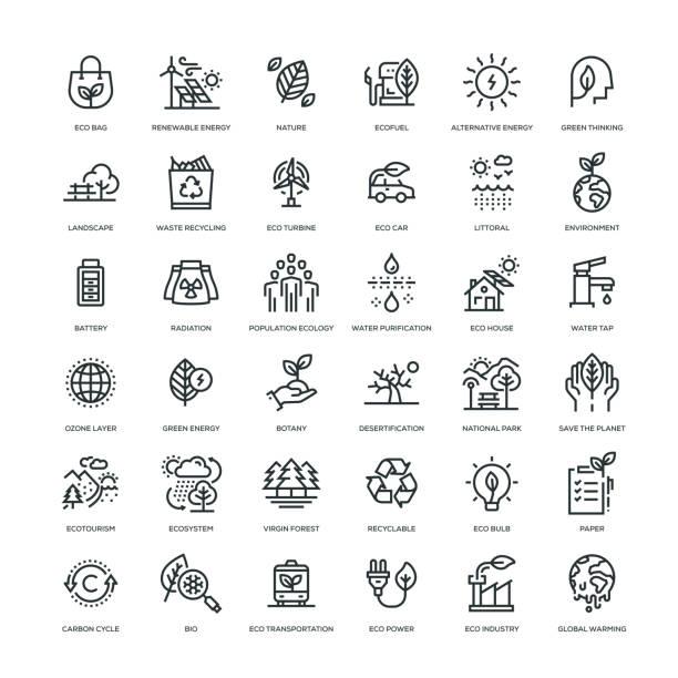 illustrazioni stock, clip art, cartoni animati e icone di tendenza di ecology icon set - sustainability icons