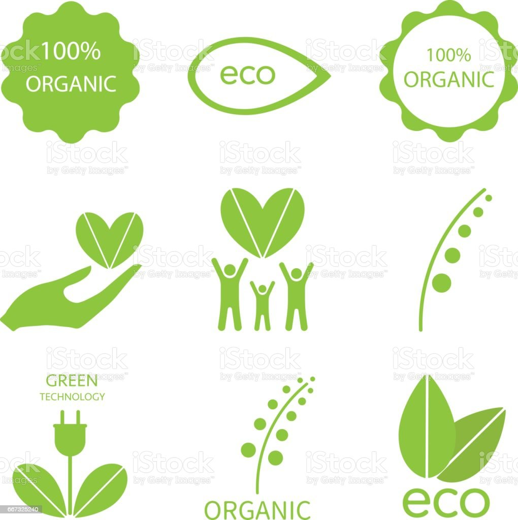 Ecology icon set vector art illustration