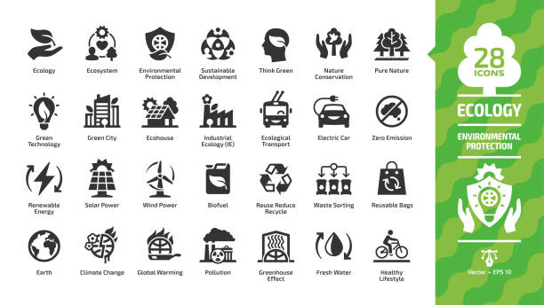 Ecology icon set with green city, ecosystem,  eco technology, renewable energy, environment protection, sustainable development, nature conservation, ecological transport and recycling glyph symbols. Ecology icon set with green city, ecosystem,  eco technology, renewable energy, environment protection, sustainable development, nature conservation, ecological transport and recycling glyph symbols. environmental icons stock illustrations