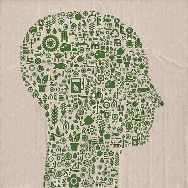 ökologie symbole head - kabelskulpturen stock-grafiken, -clipart, -cartoons und -symbole