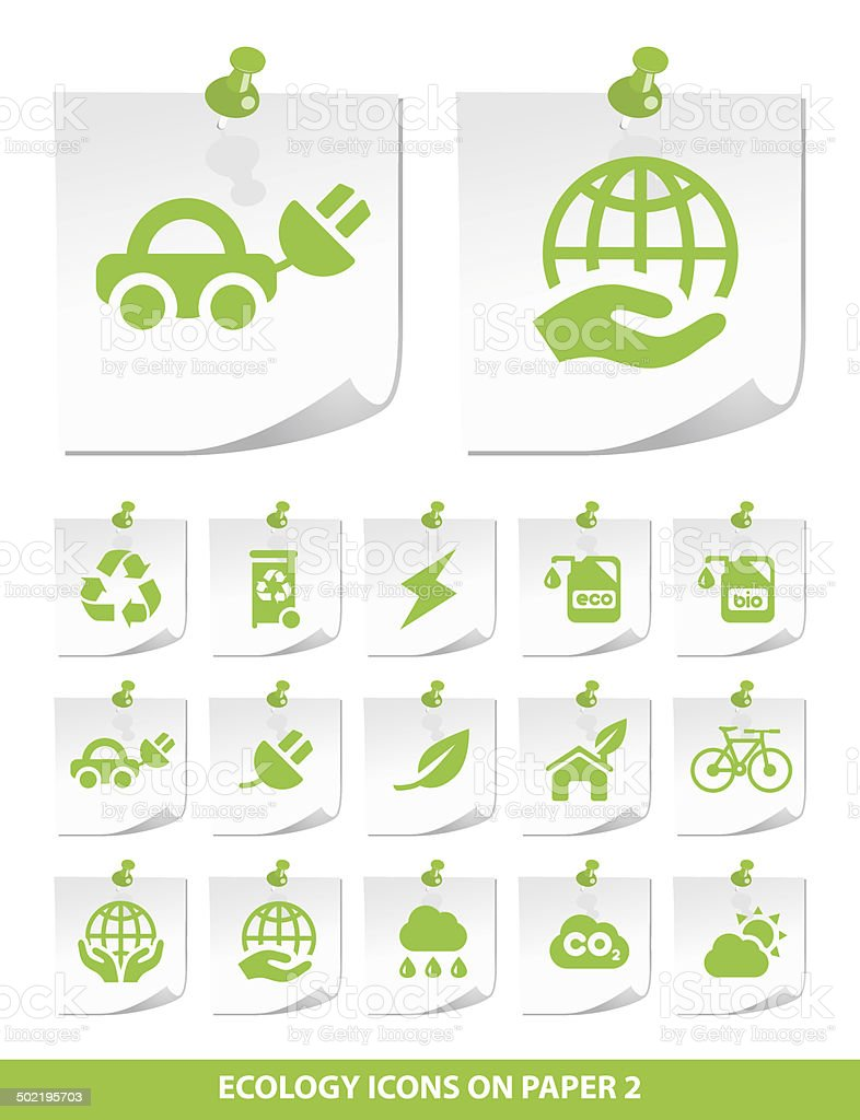 Ecology Icons on Notepaper. vector art illustration
