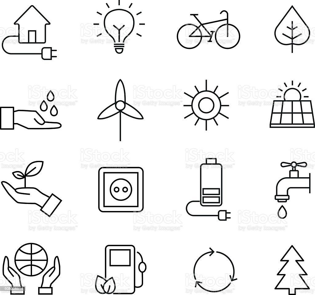 Ecology Icons, Organic Natural Symbols vector art illustration