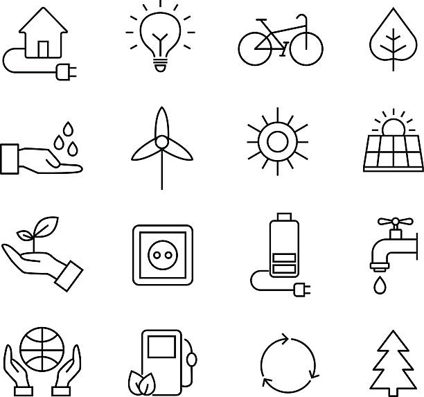 ökologie symbole, organische natürliche symbole - klimaschutz stock-grafiken, -clipart, -cartoons und -symbole