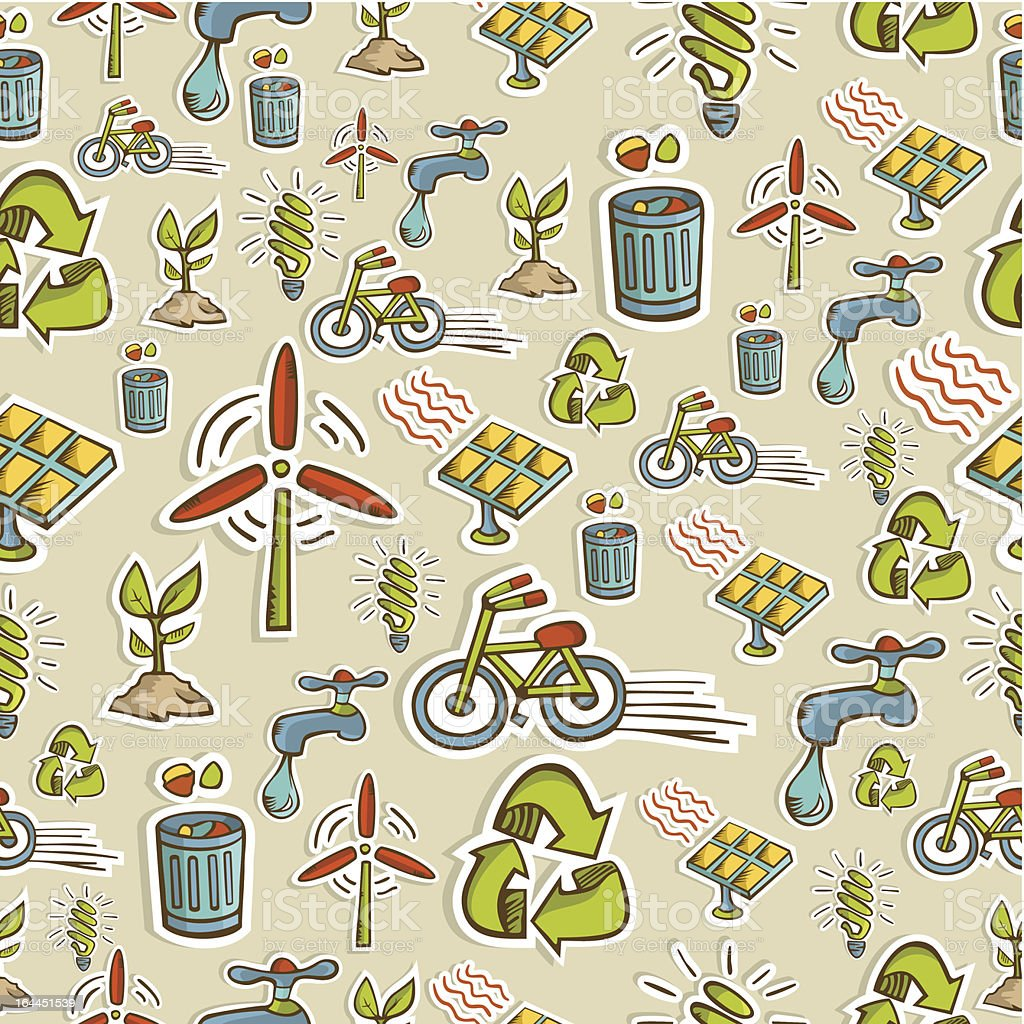 Ecology icons pattern royalty-free stock vector art