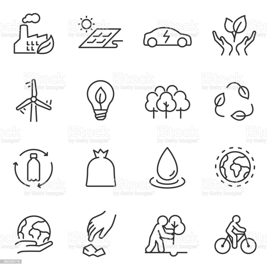 ecology icons set. linear design. Line with editable stroke - Royalty-free Battery stock vector