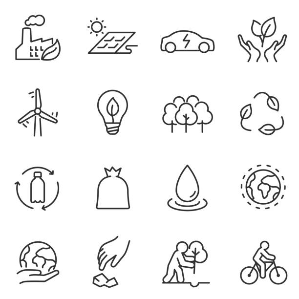 ecology icons set. linear design. Line with editable stroke vector art illustration