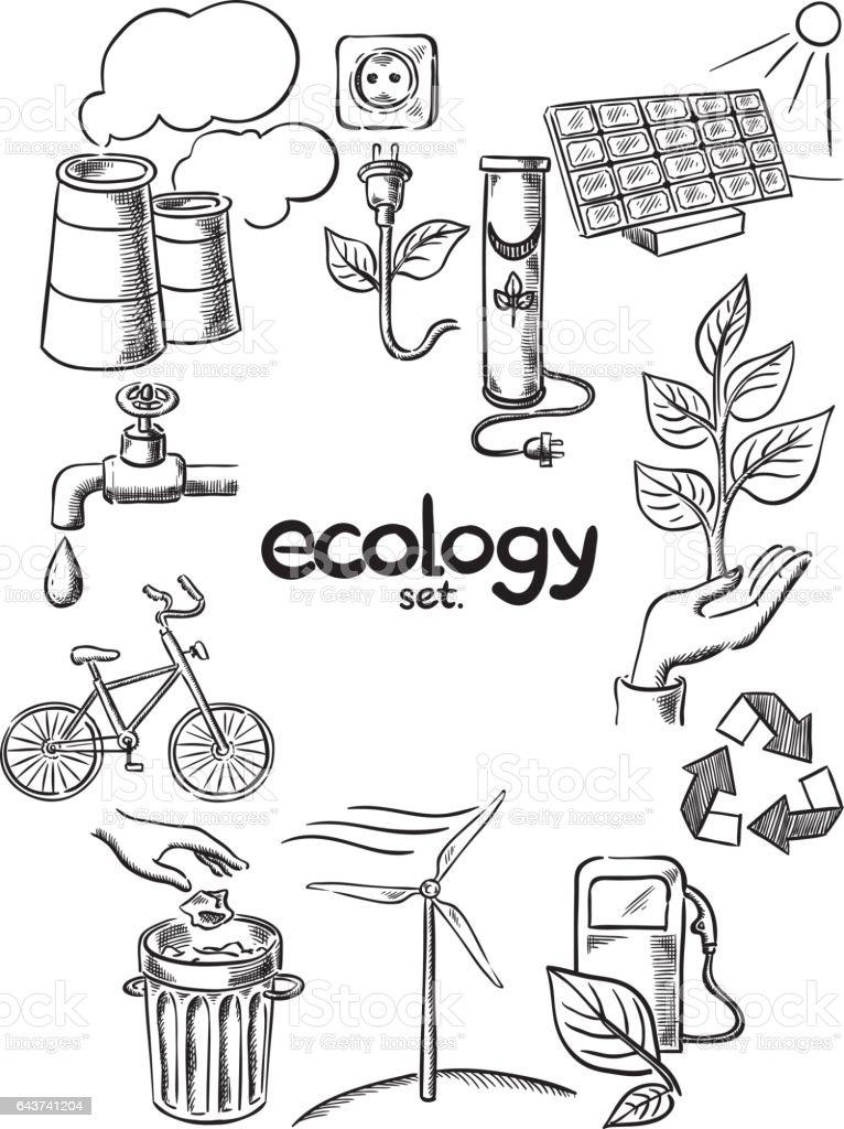 Ecology icons set vector art illustration