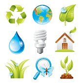 Ecology icon set in fresh blue and green colors contains recycling symbol, fresh green leaf with dew drop, relief world map, clean water drop, light bulb, eco house, green grass, magnifying glass with butterfly, young plant bud. Zip contains CDR-11, AI 10.