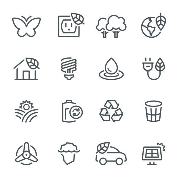 ökologie-icons - klimaschutz stock-grafiken, -clipart, -cartoons und -symbole