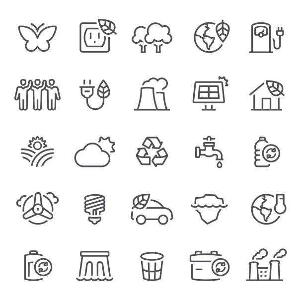 stockillustraties, clipart, cartoons en iconen met ecologie pictogrammen - klimaat