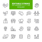 Ecology, environment, eco, editable stroke, outline, icon, icon set, bio fuel, green energy