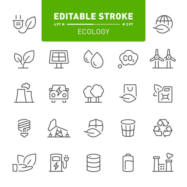Ecology Icons Ecology, environment, eco, editable stroke, outline, icon, icon set, bio fuel, green energy oil drum stock illustrations