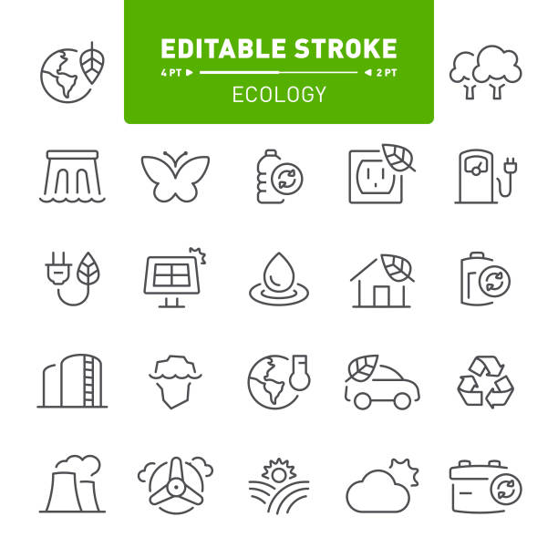 Ecology Icons Environment, nature, ecology, eco, bio, editable stroke, outline, icon, icon set, green energy alternative fuel vehicle stock illustrations