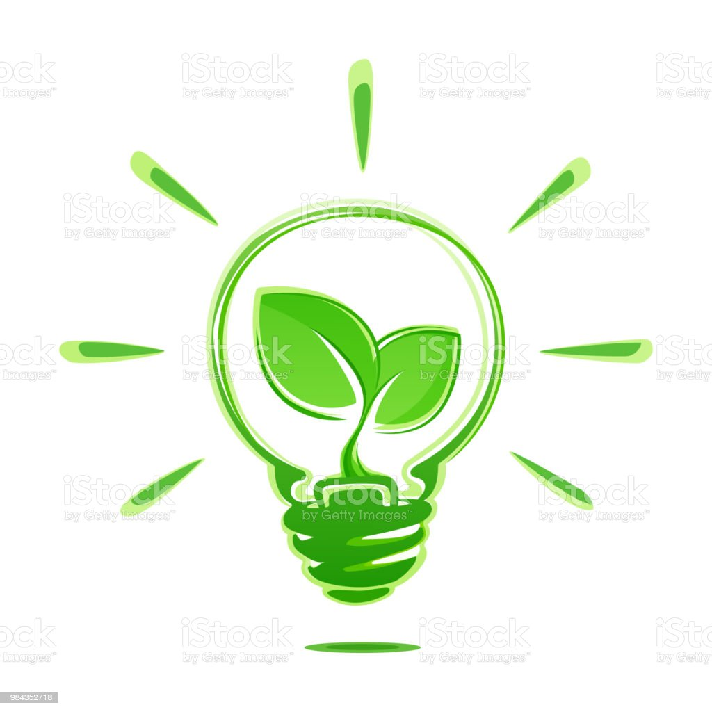 Ecology idea green bulb with plant vector illustration. Ecology concept green energy. Ecological energy vector symbol. vector art illustration