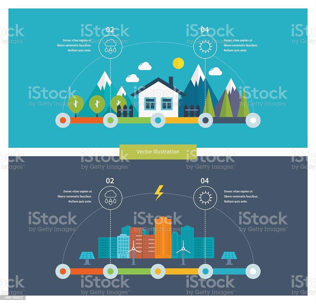 Ecology illustration infographic elements flat design. Eco life vector art illustration