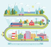Vector illustration with ecology info graphic elements in flat style