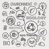 Ecology infographic hand draw icons. Vector sketch integrated doodle illustration for environmental, eco friendly, bio, energy, recycle, car, planet, green concepts. Hatch connected pictograms set.