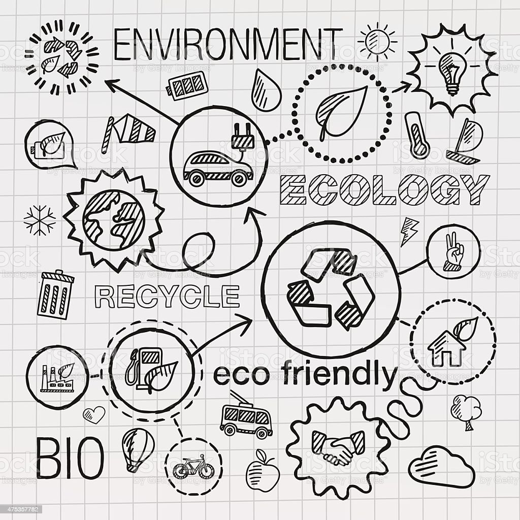 Ecology infographic hand draw icons. Vector sketch integrated doodle illustration vector art illustration