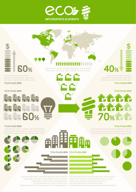 ecology infographic template. - energy saving stock illustrations, clip art, cartoons, & icons