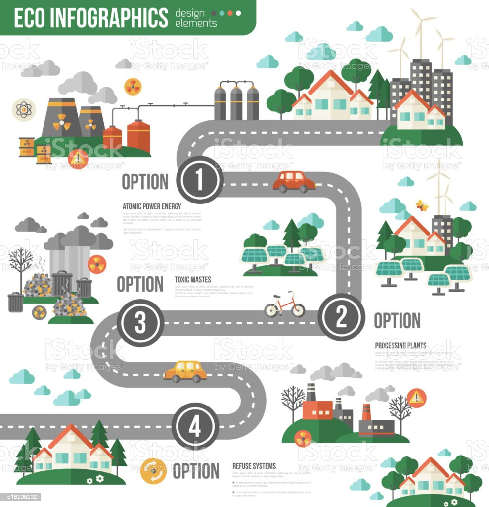Ecology Infographics with Town Road vector art illustration