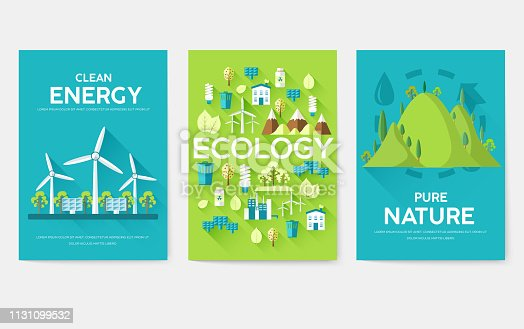 Ecology information cards set. Ecological template of flyer, magazines, posters, book cover, banners. Eco infographic concept  background. Layout illustrations modern pages with typography
