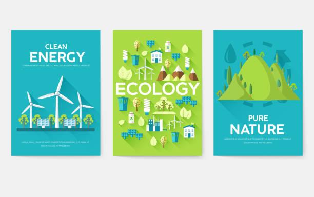 ekoloji bilgi kartları ayarlayın. ekolojik broşür, dergi, poster, kitap kapağı, afiş şablonu. eko i̇nfografik kavramı arka plan. düzen tipografi metin ile modern sayfaları illüstrasyonlar - rüzgar değirmeni stock illustrations